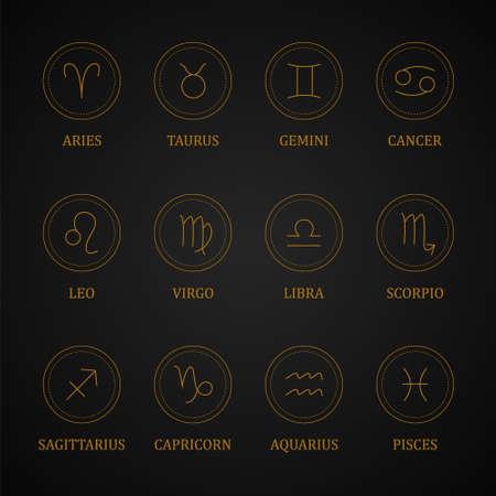 Set of gold zodiac signs. Astrological horoscope. Ilustração