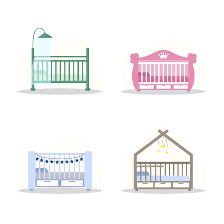 Set of cot icons. Simple element from baby things icons collection. Creative baby cradle for ui, ux, apps, software and infographics. Vector illustration in flat style.
