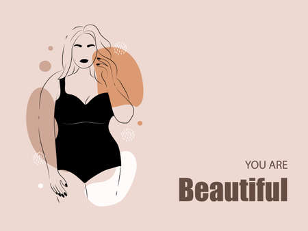 Body positive. Abstract minimalistic female figure. Linear elegant women in lingerie and swimsuit on abstract simple shapes. Promotion design for social media, logo for shop, beauty salon, underwear.