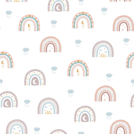 Trendy rainbows in boho style in different color. Vector seamless pattern. Children illustrations for holidays. Doodle art elements. Design for fabric, postcards, bed linens, pillows and wallpaper.