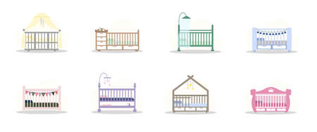 Set of cot icons. Simple element from baby things icons collection. Creative baby cradle for ui, ux, apps, software and infographics. illustration in flat style. Ilustração