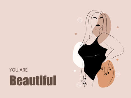 Body positive. Abstract minimalistic female figure. Linear elegant women in lingerie and swimsuit on abstract simple shapes. Promotion design for social media Ilustração