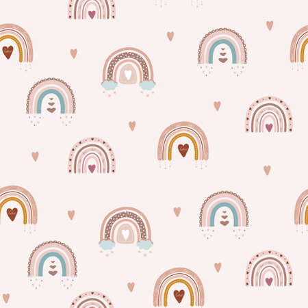 Trendy rainbows in boho style in different color. seamless pattern. Children illustrations for holidays. Doodle art elements. Design for fabric, postcards, bed linens, pillows and wallpaper.