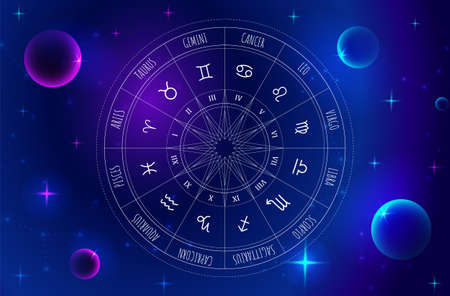 Astrology wheel with zodiac signs on outer space background. Mystery and esoteric. Star map. Horoscope illustration. Spiritual tarot poster. Stock Photo