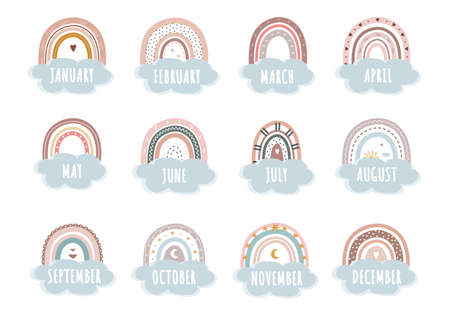 Trendy rainbows in boho style in different color. Rainbows with cloud, sun, stars and hearts. Doodle art elements. Vector design for childbirth, birthday, to-do list, daily planner and calendar. Ilustração