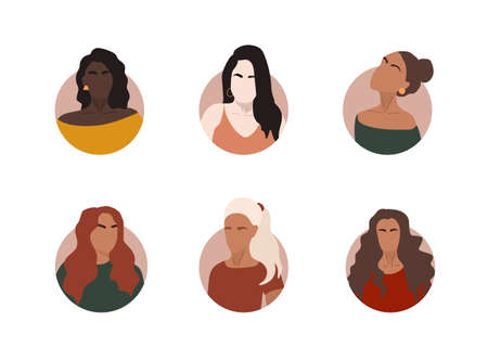 Set different abstract women portraits of big diverse business team. Bundle of joyful colleagues. Collection of female cartoon characters. Various nationality. Set of avatars at round frame.