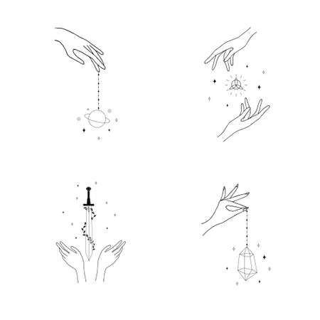 Set of female hand  in a minimal linear style. Different vector hand gestures with sword, stars and crystal. Abstract  for cosmetics or beauty products, tattoo, Spa, manicure, jewelry store.