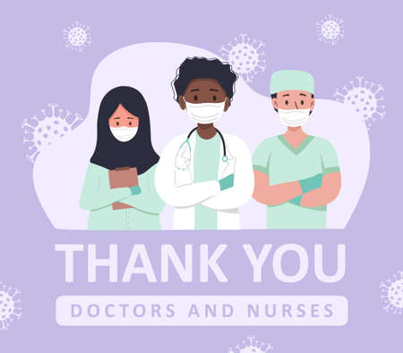 Thank you to the doctors and nurses for their help and saved lives. Set of portraits of male and female medical workers. Thank you heroes, vector illustration. Coronavirus epidemic concept.