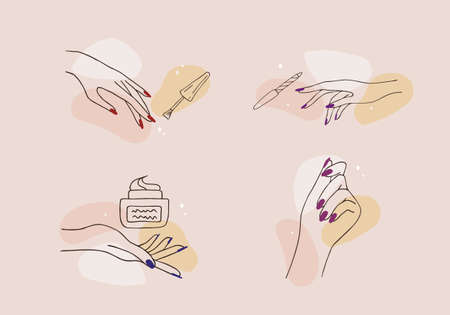Female manicured hands. Lady painting, polishing nails. Nail polish and nail file. Vector Illustration of Elegant female hands in a trendy minimalist style. Beauty  for nail studio or spa salon. Ilustração