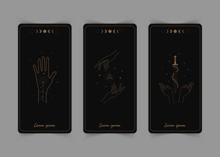 Magical tarot cards. The reverse side. Magic and esoteric. Tarot vector illustration in boho style with mystic symbols, crystals and line art stars. Witchcraft concept for tarot readers.