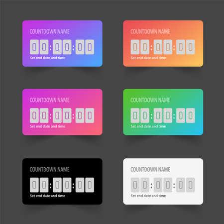 Templates colorful timer. Layouts elements social media countdown. Mockup stories stickers. Vector illustration. Ilustração