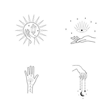 Set of female hand logos in a minimal linear style. Different vector hand gestures with moon, stars and Crystal.