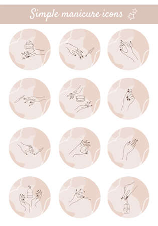 Female manicured hands. Set of highlight covers for social media. Vector Illustration of Elegant female fingers in a trendy lineart style. Ilustração