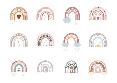 Trendy rainbows in boho style in different color. Rainbows with cloud, sun, stars and hearts. Children illustrations for holidays. Doodle art elements. Modern vector illustration.