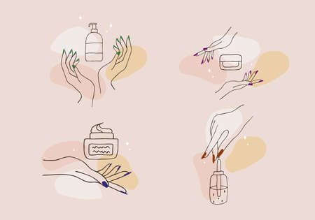 Female manicured hands. Lady painting, polishing nails. Nail polish and nail file. Vector Illustration of Elegant female hands in a trendy minimalist style.
