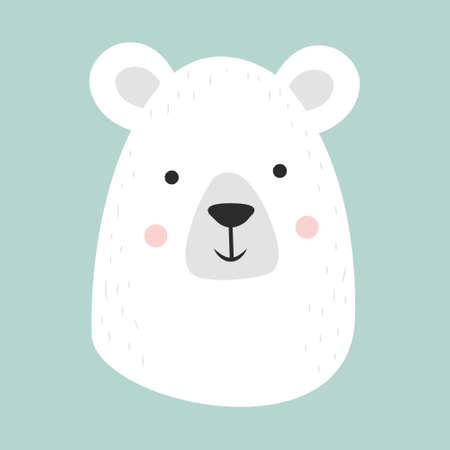 Cute hand drawn smiling white bear. Cartoon zoo. Vector illustration. Animal for the design of children products in scandinavian style.