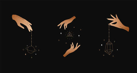 Set of female hands. Witch magic and occult collection. Different vector hand gestures with sword, stars and crystal. Abstract for tarot cards, tattoo, spiritual poster.