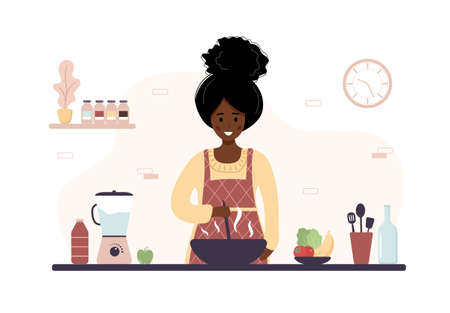 African woman cooking in kitchen. Girl preparing homemade meals for lunch or dinner. Preparation homemade pastry or baking. Flat cartoon vector illustration.