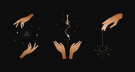 Set of female hands. Witch magic and occult collection. Different vector hand gestures with sword, stars and crystal.