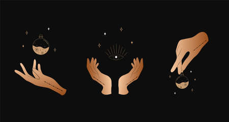 Set of female hands. Witch magic and occult collection. Different vector hand gestures with sword, stars and crystal. Stock fotó - 155616207