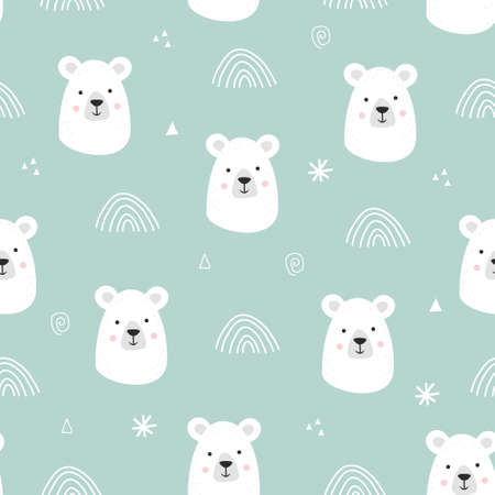 Seamless pattern with cute hand drawn smiling white bear. Cartoon zoo. Vector illustration. Animal for the design of children products in scandinavian style.