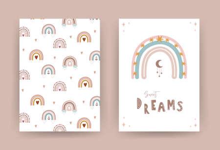 Trendy rainbow in boho style in different color. Sweet dreams. Children illustrations for poster or post card. Doodle art element. Modern vector illustration. Ilustração
