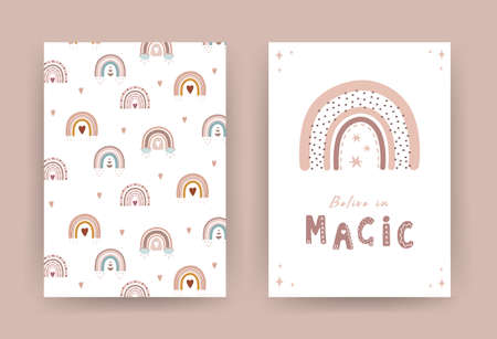 Trendy rainbow in boho style in different color. Belive in magic. Children illustrations for poster or post card. Doodle art element. Modern vector illustration.
