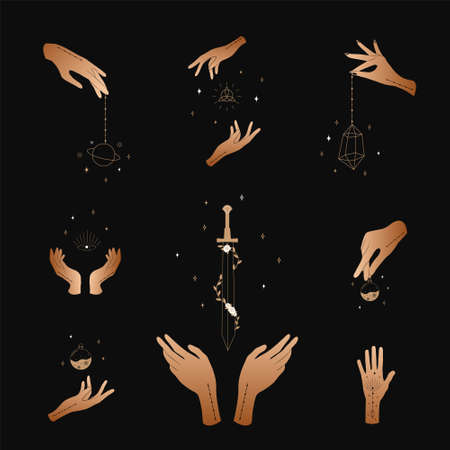 Set of female hands. Witch magic and occult collection. Different vector hand gestures with sword, stars and crystal. Stock fotó - 155616216