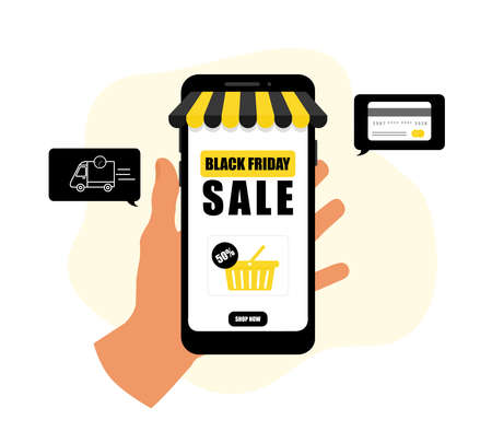 Black Friday sale poster. Commercial discount event banner. Online shopping. Contactless delivery. Vector illustration.