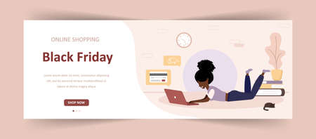 Black friday sale. African woman with laptop shop at an online store. Modern vector illustration in flat style. Web banner for commercial discounts.