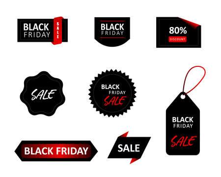 Black Friday sale tag set. Vector Illustration. Vektorové ilustrace