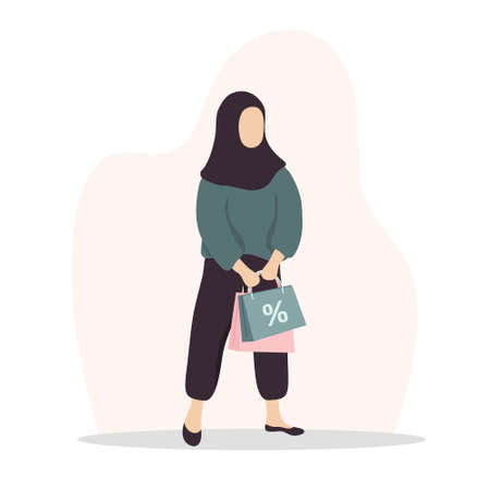 Woman shopping. Happy arab girl carrying bags. Vector cartoon illustration isolated on white background. Promotion and sale template.