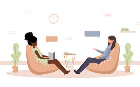 Psychotherapy practice and psychological help. African woman supports female with psychological problems. Therapy and counselling for people under stress and depression. Vector in flat style.