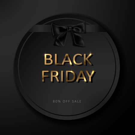 Black Friday sale poster. Commercial discount event banner. Black background with gold lettering.