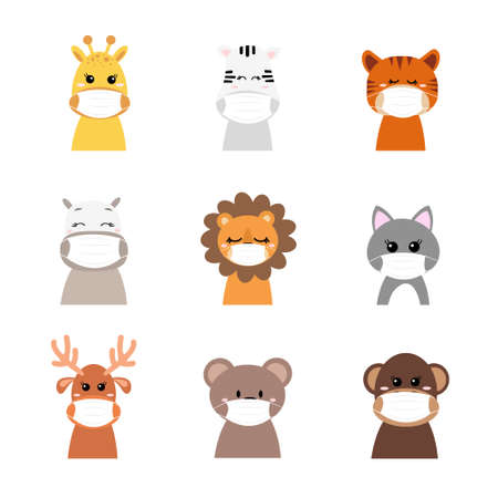 Cute animals wearing face masks protecting from virus or dust. Cartoon vector illustration.