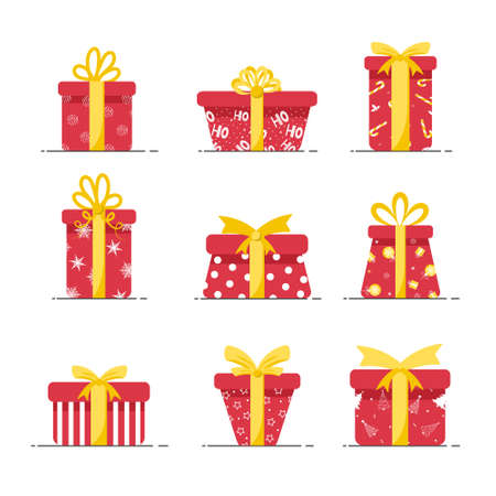 Boxes for presents in red colors isolated on white background. Christmas and New year holiday. Vector illustration in flat style.