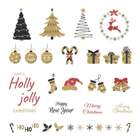 Set of winter holidays design elements. Cheerful hand-drawn New Year stickers set. Christmas illustration for card, poster, web,  scrapbooking, patterns. Flat style.