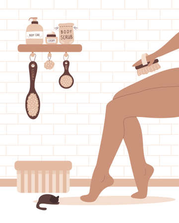 Woman brushing legs with dry cactus brush. Home body care.
