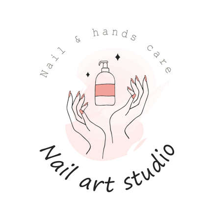 Nail art studio template. Modern design for manicure and salon. Stock Illustratie