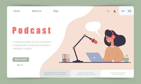 Podcast landing page template. Interview with radio host. Streaming online.