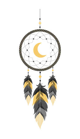 Dream catcher with moon and feathers. Indian talisman.