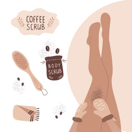 Coffee scrub concept. Woman exfoliating legs with massage gloves. Illusztráció