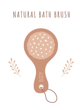 Natural dry skin brush. Cellulite organic cosmetic. Illusztráció