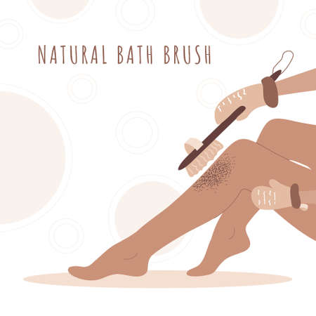 Woman exfoliating legs with dry wooden brush. Skin health.