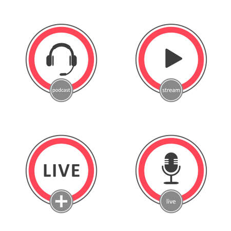 Podcast logo set. Symbols and buttons of live streaming, broadcasting.