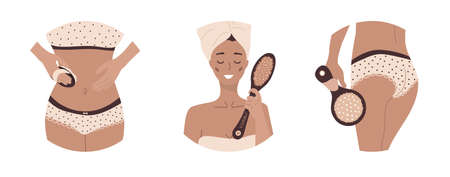 Home body care. Morning routine. Women with wooden cactus brushes. Illusztráció