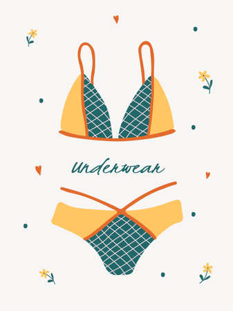 Modern female lingerie or swimwear. Trendy hand drawn underwear or bikini tops and bottoms.