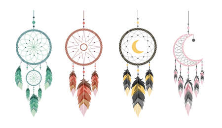 Dream catcher with moon and feathers. Set of Indian talismans.
