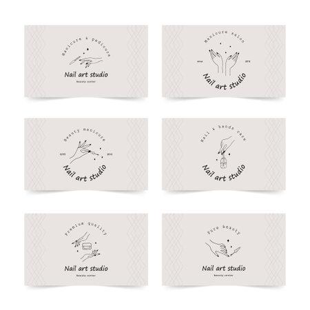 Nail art studio business card template. Modern design for manicure and pedicure salon.