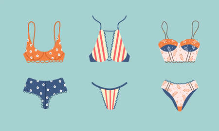 Modern female lingerie or swimwear set. Trendy hand drawn underwear or bikini tops and bottoms.
